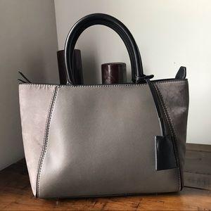Zara basic saffiano & suede sided tote